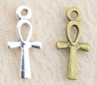 20 x Ankh Charms - Egyptian Cross, Key of Life, Fertility, Wisdom Pendants 17mm