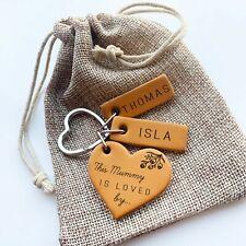 Personalised Keyring Gift for Mum, Grandma Engraved Leather Belongs to Birthday