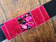 Velvet bow jewelled waist belt