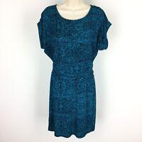 Ann Taylor Empire Waist Dress Size XS Short Sleeve Green Blue Floral Career