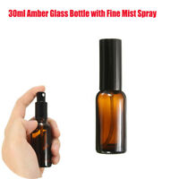 1-20Pcs 30ml Amber Glass Bottles With Fine Mist Spray For Aromatherapy Perfume