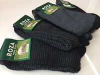 12 Pairs Men Dark Grey High Quality Chunky Thick Wool Socks Size 6-11  JGRFV