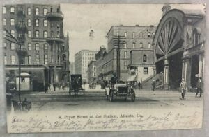 1909 Antique Postcard S Pryor Street At Union Station Atlanta Georgia Automobile