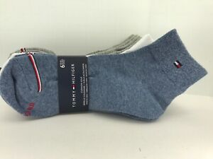 TOMMY HILFIGER Women's Socks, Blue Gray White, 77% COTTON, 6 Pair, $36 MSRP 🎾🎒