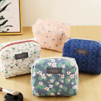 Womens Small Floral Cosmetic Bag Pouch Toiletry Organizer Zip Makeup Coin Holder