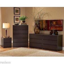 NEW 5 Drawer Chest and Nightstand Bedroom Set Dresser Chest Lacquered Espresso