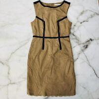 Trina Turk Beige Sheath Dress Faux Leather Piping Sleeveless Size 4