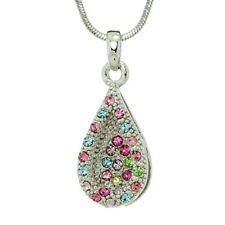 """Tear Drop Pendant Made with Swarovski Crystal Multi Colo Love Necklace 18"""" Chain"""