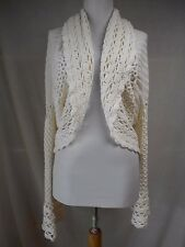 nwot Rachel Zoe Crocheted Lace Knit Cardigan Sweater Shrug M Solid White Cotton