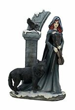 """14.75"""" Cloaked Violist w/ Wolf & Crow Sculpture Figure Statue Gothic Home Decor"""