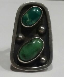 Vintage Native American Indian Turquoise & Sterling silver Ring, size 6.25