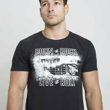 Red Torpedo x Ace Cafe Live To Roll T-Shirt Vintage Black MENS