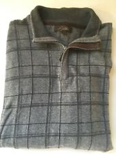 TASSO ELBA Men's Gray Check Sweater 1/4 Zip Cotton/Suede Large L