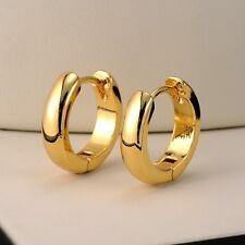 24k Yellow Gold Filled Earrings Birthday Gift Smooth Hoop Huggie Charms Jewelry