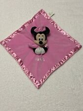 Disney Minnie Mouse Pink Security Blanket Lovey Blanket wtih Rattle