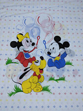 Vtg 80s Disney Mickey Minnie Mouse Duvet Cover Fabric Sheets Bedding Baby Dundee