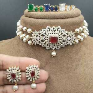Gold Plated Bollywood Kundan Choker Necklace Bridal Indian Pearl CZ Jewelry Set