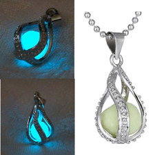 Glowing Necklace Luminous Pearl Mermaid Pendant Hollow Spiral Water Drop Silver