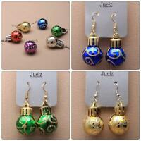 New Christmas Bauble Ball Earrings Red Blue Green Gold Silver Purple Party