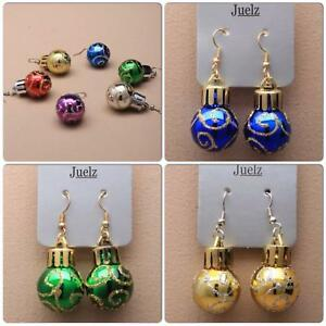 New Christmas Bauble Ball Earrings Red Blue Green Gold Silver Pink Party