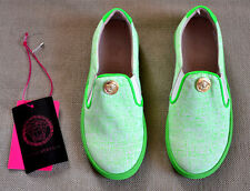 New Authentic Young Versace Girl's Acid Green Meduca medallion Slip On Sneakers