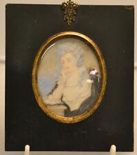 Miniatur,Bildnis einer Dame in schwarzem Rahmen,19.Jhdt