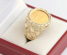 Mens 14K YG 1982 1/10 oz Gold Krugerrand Coin Nugget Ring Gents SZ 9.75 Vintage
