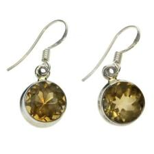 Yellow Faceted Round Citrine Earrings Sterling Silver Gemstone Jewelry Ear Hooks