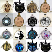 Novelty Charm Cabochon Tibetan silver Round Glass Pendant Chain Necklace Gift