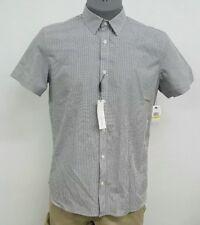 Calvin Klein CK White Black Checked Button Up Men's S/S Shirt NWT $69.50 M