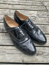 Salvatore Ferragamo Mens 11 EEE 3E Black leather wingtip Dress shoes Oxfords