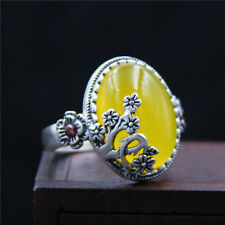 Vintage Antique 990 Sterling Silver Yellow Chalcedony Carved Flower Opening Ring