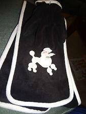 Girls Size 7-16 Bl/Wh Poodle Scarf & Gloves Set New