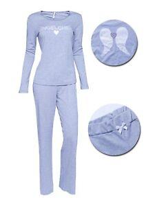 """LOUIS & LOUISA  """" Engelchen """" Pyjama  grau mit Flügel hinten Gr. XS - XXL  NEU"""