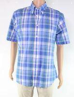 Brooks Brothers Mens Shirt Blue Size Large L Button Down Plaid Pocket $54 #408