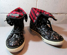 Justice Canvas High Top Black & Red Leopard Bling Sneakers Teens Size 6