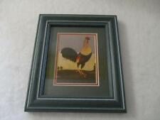 "Green Wood Framed Glass Picture/ Print by Paul Kitchin ""Rural Rooster"""