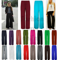 Women's Plus Size Palazzo Wide Leg Plain Flared Ladies Trousers Legging Pants UK