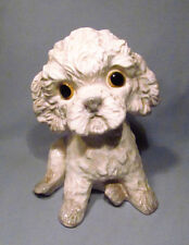 Hand Painted Signed Ceramic Pottery Bichon Frise Poodle Puppy Dog Figurine