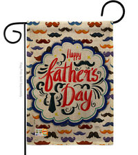 New listing Happy Father's Day Mustache Burlap-Impressions Decorative Garden Flag G165139-Db