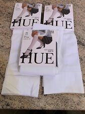 3 PAIRS OF SIZE 1 HUE X3 SOFT OPAQUE WHITE LADIES KNEE HI TIGHTS.