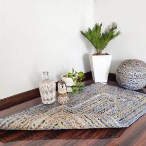 Rug Natural Jute and Denim handmade modern living area carpet rug home decor rug