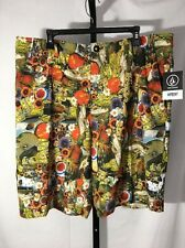 VOLCOM SURF & TURF FRICKIN MIXED BOARD SHORTS SWIM BOTTOMS MULTI SZ 38 NEW! $55