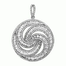 Elegant Pendant Necklace .925 Sterling Silver Hand Set Micro Pave
