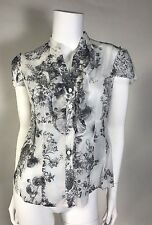Preowned Cynthia By Cynthia Steffe Woman Blouse Fitted SZ 8 With /Rushes Cotton