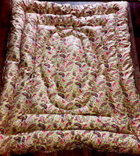 More details for vintage pink & pale green feather quilt/eiderdown paisley cotton duck filled