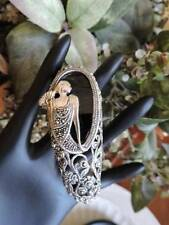 Stunning Sterling Silver 925 Art Deco Marcasite Onyx Figural Bangle Bracelet