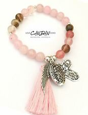 Saint Christopher Quartz Bracelet With Angel Wing 5 Way Travelers Cross Charms
