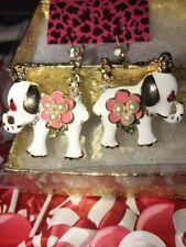 Betsey Johnson WHITE ELEPHANT Dangle  Earrings  GOLD Crystals Adorable