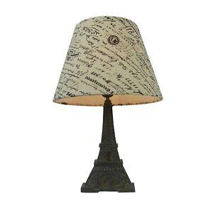 Simple Designs Eiffel Tower Lamp 16 Inch, French Script Paris Shade Brown Slate